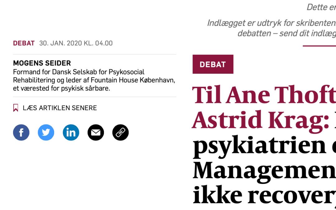 Debatindlæg i Politiken Sundhed: Problemet i psykiatrien er ikke recovery…